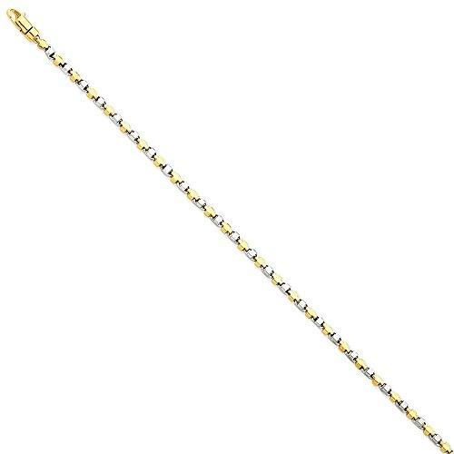 Two-Tone Armband Schmuck 2,50 mm Kette Lust auf Gold Link feine Geschenk 14k Männer –
