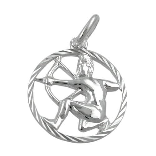 Unbespielt Unisex Kettenanhänger Anhänger Sternzeichen Schütze aus 925 Silber Abmessung 15 mm inkl. kleiner Schmuckbox