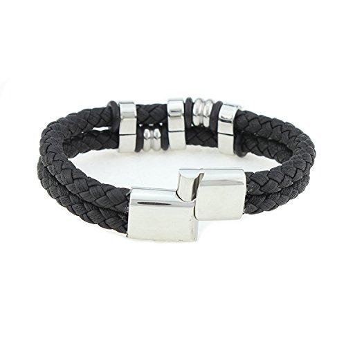 Unisex Leder Armband Manschette Wrap Braided Bund mit Edelstahl Metall Gürtelschnalle Anhänger Perlen