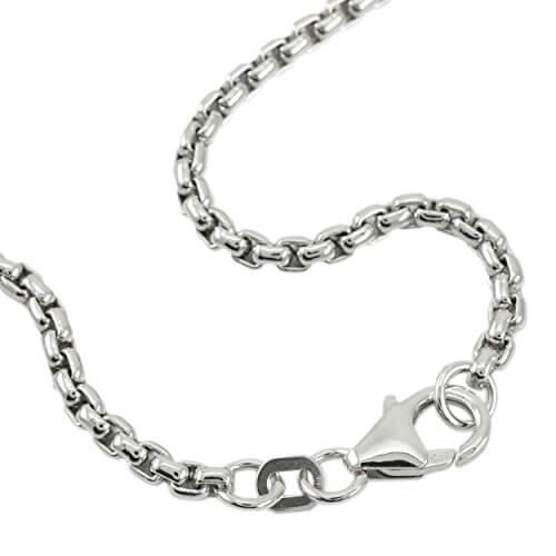 Venezianerkette 925 Sterlingsilber Rhodiniert Rund Breite 2,70mm Unisex Silberkette Halskette NEU