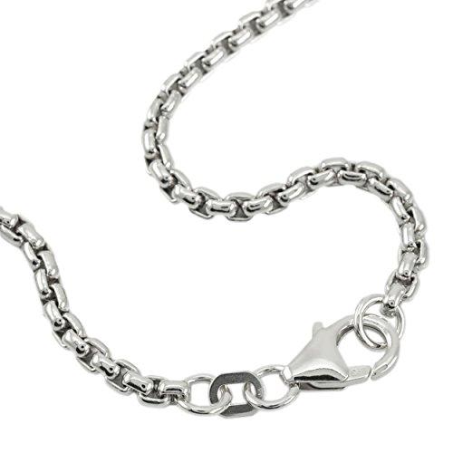 Venezianerkette 925 Sterlingsilber Rhodiniert Rund Breite 3,70mm Unisex Silberkette Halskette NEU