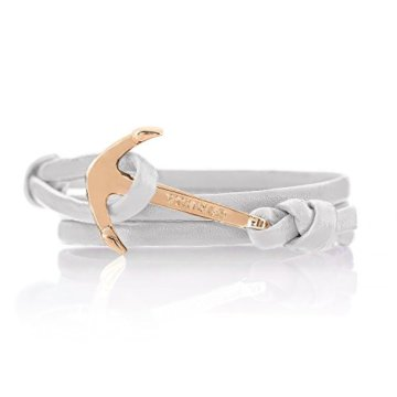 Vikings Anker-Armband aus Leder in Weiss mit Anker in Gold