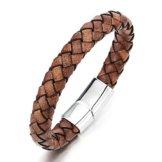 Vintage Braune Geflochtenes Leder-Armband für Herren für Damen Leder Armreif Schweißband mit Edelstahl Magnetverschluss