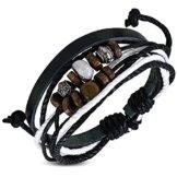 Zense–Herren-Armband Leder verstellbar Zeitgenössische Zense zb0112mit Perlen Holz und Stahl, schwarz braun und weiß, Symbol für Karma