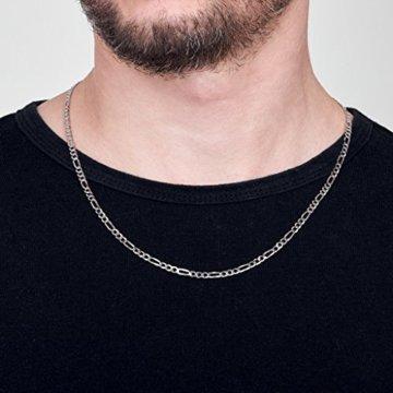 Amberta 925 Sterling Silber Halskette für Herren – Rhodiniert – Flache Figarokette3.9 mm -