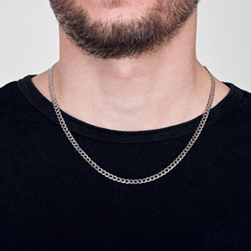 Amberta 925 Sterling Silber Halskette für Herren – Rhodiniert – Flache Panzerkette4.4 mm -