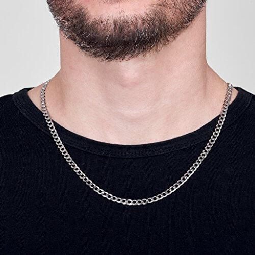 Amberta 925 Sterling Silber Halskette für Herren – Rhodiniert – Flache Panzerkette5.2 mm -