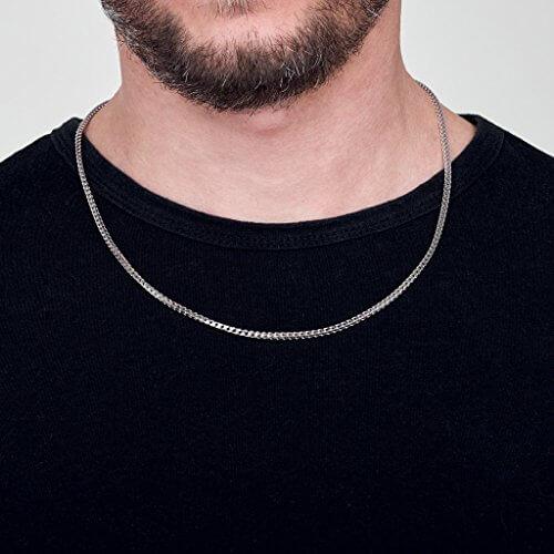 Amberta 925 Sterling Silber Halskette für Herren – Rhodiniert – Panzerkette (Franco Kette) 2.5 mm -