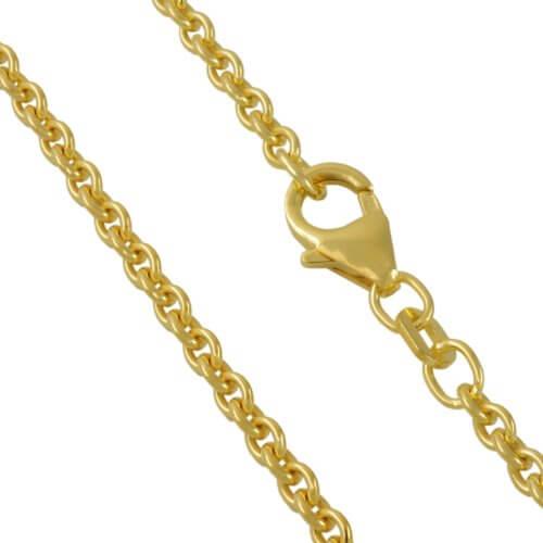 Ankerkette 925 Sterlingsilber 24 Karat Vergoldet Rund Breite 2,80mm Unisex Silberkette Halskette Collier NEU -