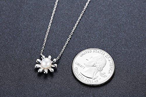 Aoiy Damen-Halskette, Sterling Silber, Sonnenblume con Schale Perle, für Mädchen und Frau, zhp001bi -