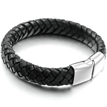 Aooaz Echtes Leder Armbands Für Männer Silber Schwarz Hochzeit Armbands Gothic Armreifen Kostenlose Gravur Herren -