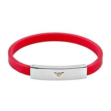 Armband 18k Stahl ARMANI Grund roter Gummi [AB2498] -