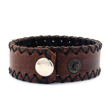 Armband Rustikaler Herrenarmband Lederarmband echtes Leder Braun b = 2 cm -