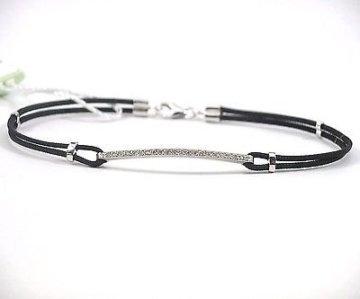 Armband Tennis Nardelli Herren, Weißgold 18kt und natürlichen Diamanten 0,09kt-Erste Qualität, montiert mit Kordel schwarz -