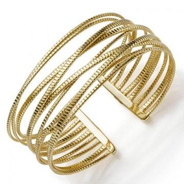 Armspange Armband Armschmuck aus 585 Gold Gelbgold 25mm breit, gerillt -