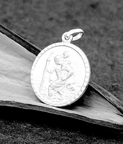 ASS 925 Silber Anhänger Christophorus Christopherus Reiseamulett Glücksbringer,diamntiert,16mm -