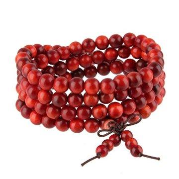 Beuty7 – 108 Perlen Buddha Armband Buddhistische Tibetische Gebetskette Mala Kette Elastisch Halskette -