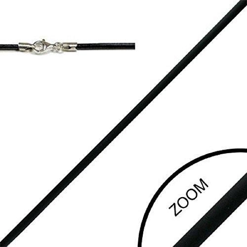 bkwear Kautschuk Halskette LKR 33 Schwarz 40 cm / 2 mm Halsband mit 925er Silber Karabiner-Verschluss Choker