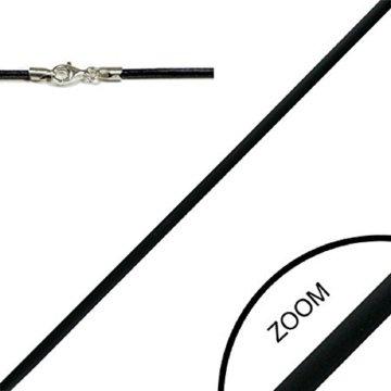 bkwear Kautschuk Halskette LKR 33 Schwarz 40 cm / 2 mm Halsband mit 925er Silber Karabiner-Verschluss Choker -