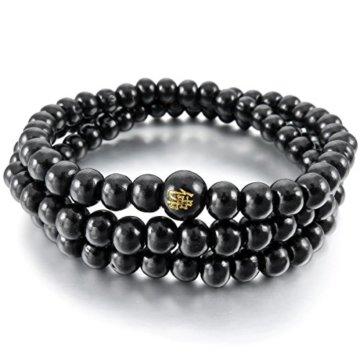 cameleon-shop Armband Halskette tibetischen ausziehbar–Holz schwarz Sandelholz–108Perlen 6mm–Länge 52cm