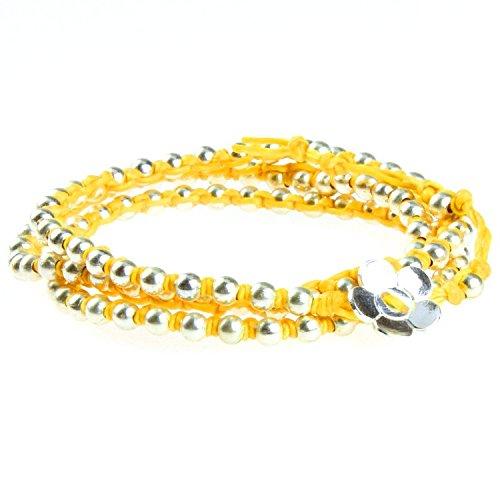 Chic-Net Brass Armband Kette gelb Messing Perlen silber Baumwolle gewachst Blume nickelfrei Armbänder -