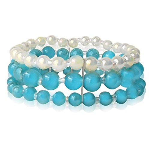 Chic-Net Glasperlen Armband türkis weiß gold dreilagig Perlen Gummiband verstellbar Perlenarmbänder -
