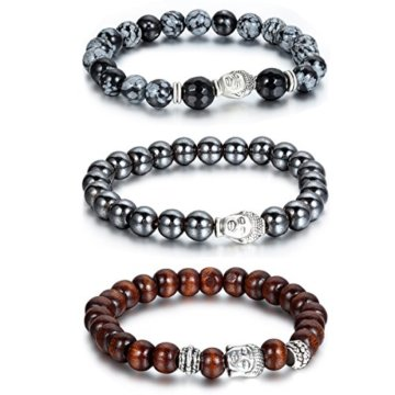 cupimatch 3Herren Frauen 8mm Magnetite Stein Nachahmung Alabaster Holz ihealing Energie Edelstein Perlen Link Stretch Armband
