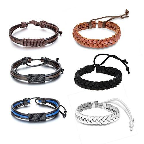 cupimatch 6 Stücken Damen Herren Armbänder, Geflochten Punk Rock Armreifen, Leder Verstellbaren Größen Armband, braun schwarz weiss
