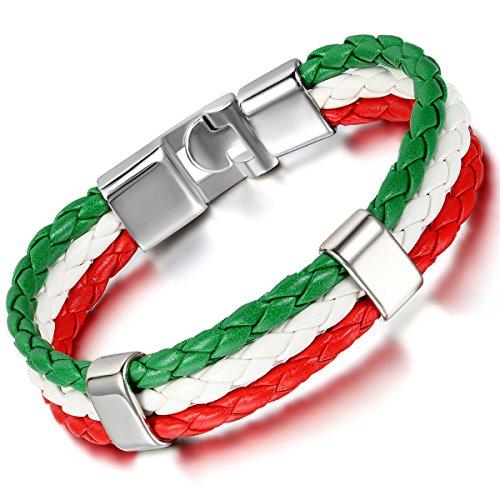 cupimatch Herren Frauen Italien Flagge italienische Banner Manschette Armreif Armband Leder geflochten, rot weiß grün, 21,1cm