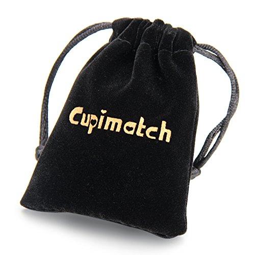 cupimatch Herren Gothic Punk Rock Edelstahl CZ Totenkopf Charm Doppelte Schichten Schwarz geflochtenem Leder Warp Armband 21,6cm -
