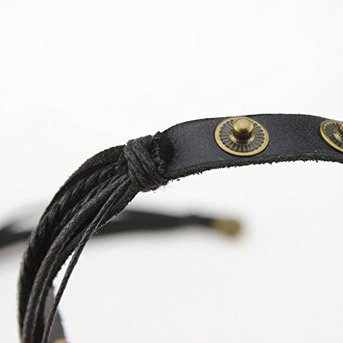 Echtes Leder Unisex Armband Doppe Wlickelarmband Handcraft Armreif mit Baumwolle Seil -