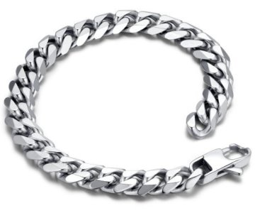 Edelstahl Herren poliert Panzerkette Armband 23cm (Farbe Silber) – G6024y1 -