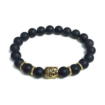 Edles Naturstein Armband mit vergoldetem Buddhakopf und matten Onyx Perlen -