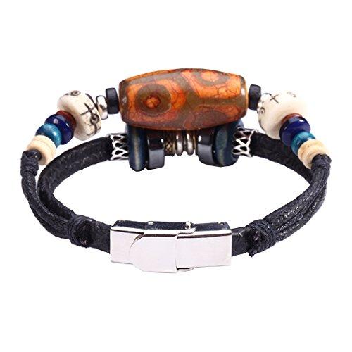 Fee Paar Double Strähnen weiß Perlen eingraviertem Symbol of Peace baumeln Kunstleder Armband L249 -