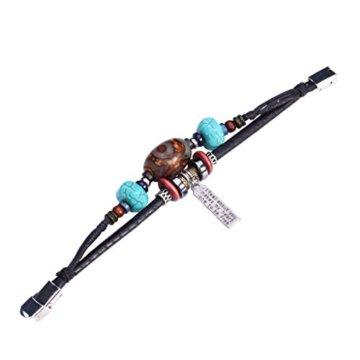 Fee Paar Retro Doppelt gemustert Strähnen Bead blau Steinen Gravur Anhänger Kunstleder Armband L261 -
