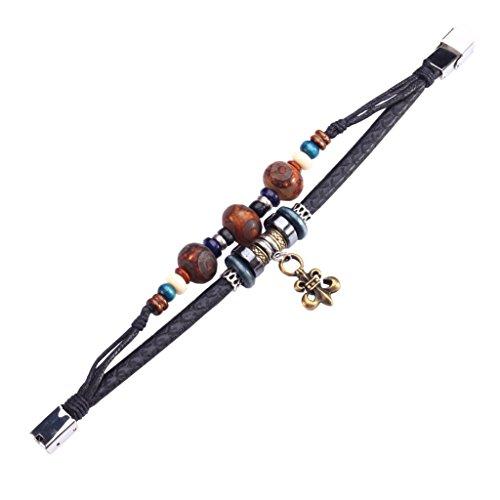 Fee Paar Retro Doppelt Strähnen Unisex Holz Perlen-Fleur De Lis Anhänger Armband L264 -