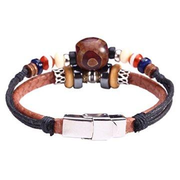 Fee Paar Retro Double Strähnen Holz & Opal Perlen Aladdin-Lampe Anhänger-Armband L248 -