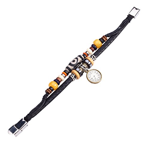 Fee Paar Retro Double Strähnen schwarz & weiß gemustert Bead Uhr Anhänger-Armband L263 -