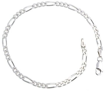 Figarokette Armband 3,4mm Breite – Länge wählbar 16-25cm – echt 925 Silber -