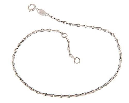 Fußkette (Haferkorn) – 2mm Breite – Länge wählbar 23-30cm – echt 925 Silber -