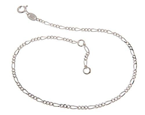 Fußkette Silber (Figaro) – 2,2mm Breite – Länge wählbar 23-30cm – echt 925 Silber -
