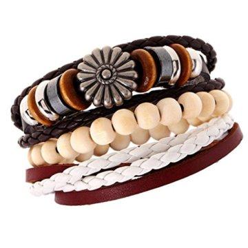 Gazechimp 3 Stück Unisex Holz Perlen PU Leder Geflochtene Armreif Armband Geschenk -