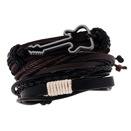 Gazechimp Unisex PU Leder Armband Flechtarmband verstellbar Band Mode Schmuck – Mehrfarbig -