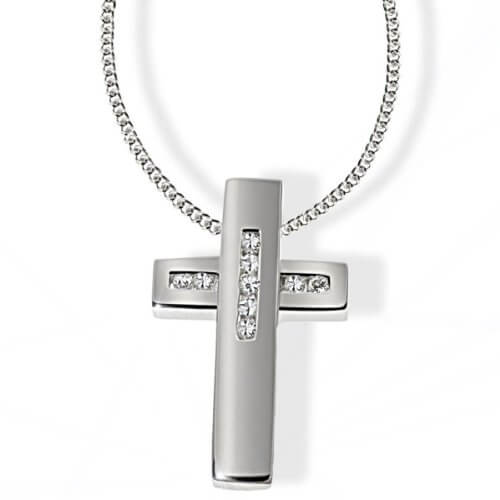 goldmaid Unisex Halskette Silber 925 9 klare Zirkonia Kanalfassung Kreuz Kr C4507S Kettenanhänger Schmuck