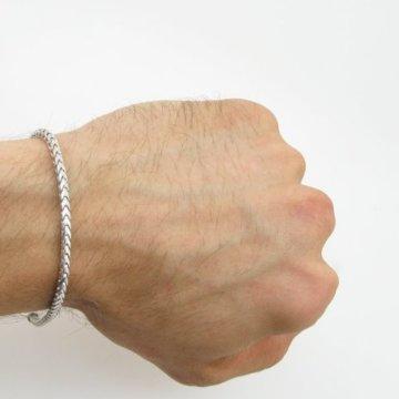 Herren 10 K Gold Weißgold fancy polynesische figaro Armband Kuba AGMBRP47 20,32 cm hoch und 3 mm breit -