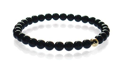 Herren Armband mit Onyx und 375 Gelb Gold Perle 6mm -