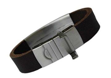 Herren Lederarmband XXL Gravurplatte mit Laser Gravur Büffel Leder Armband (20 Zentimeter) -