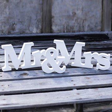 Holz Aufsteller Mr & Mrs Brautpaar,Hochzeit,Saaldeko,Tischdeko Geschenk weiß -