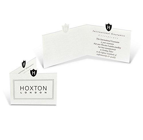 Hoxtons London Herren Sterling Silber Fischgät Schwarzes Leder Armband 22cm -