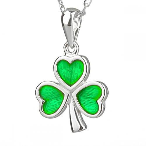 Irish Shamrock – wundervolles Kleeblatt aus Sterling Silber mit Emaille -